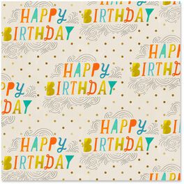 Happy Birthday Gold Dots Wrapping Paper Roll, 22.5 sq. ft., , large