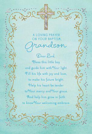 Blue Cross Baptism Card for Grandson