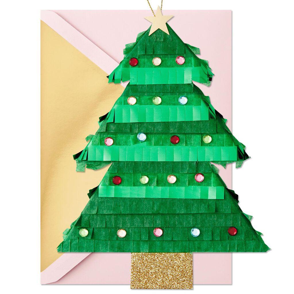Christmas Pinata.Tree Shaped Pinata Hangable Ornament Christmas Card