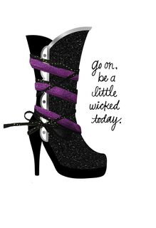 Glittery Witch's Boot Halloween Card,