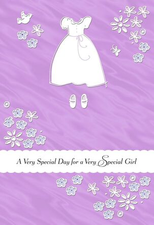White Dress and Flowers First Communion Card for Her