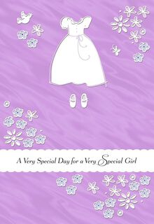 White Dress and Flowers First Communion Card for Her,