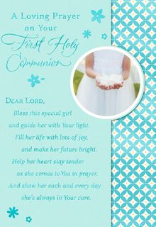 Hands Holding Flower Petals First Holy Communion Card for Niece,