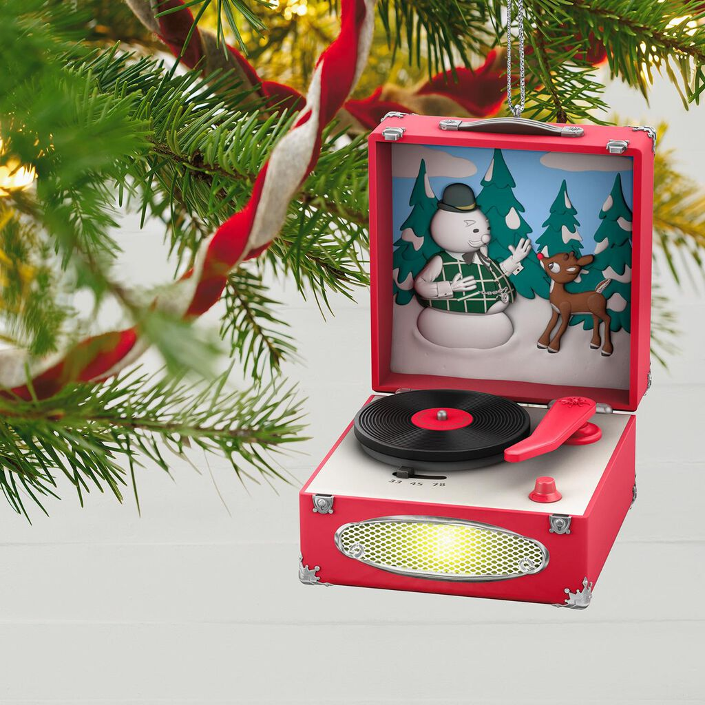 rudolph the red nosed reindeer record player musical ornament with light