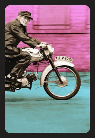 Granny on Motorcycle Funny Birthday Card