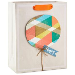 "Plaid Balloon Large Gift Bag, 13"", , large"