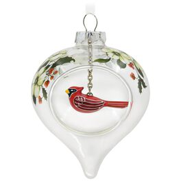 Winter Cardinal and Holly Glass Ornament, , large