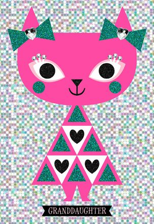 Sparkling Pink Cat Birthday Card for Granddaughter