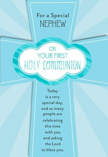 God Bless You First Holy Communion Card for Nephew,