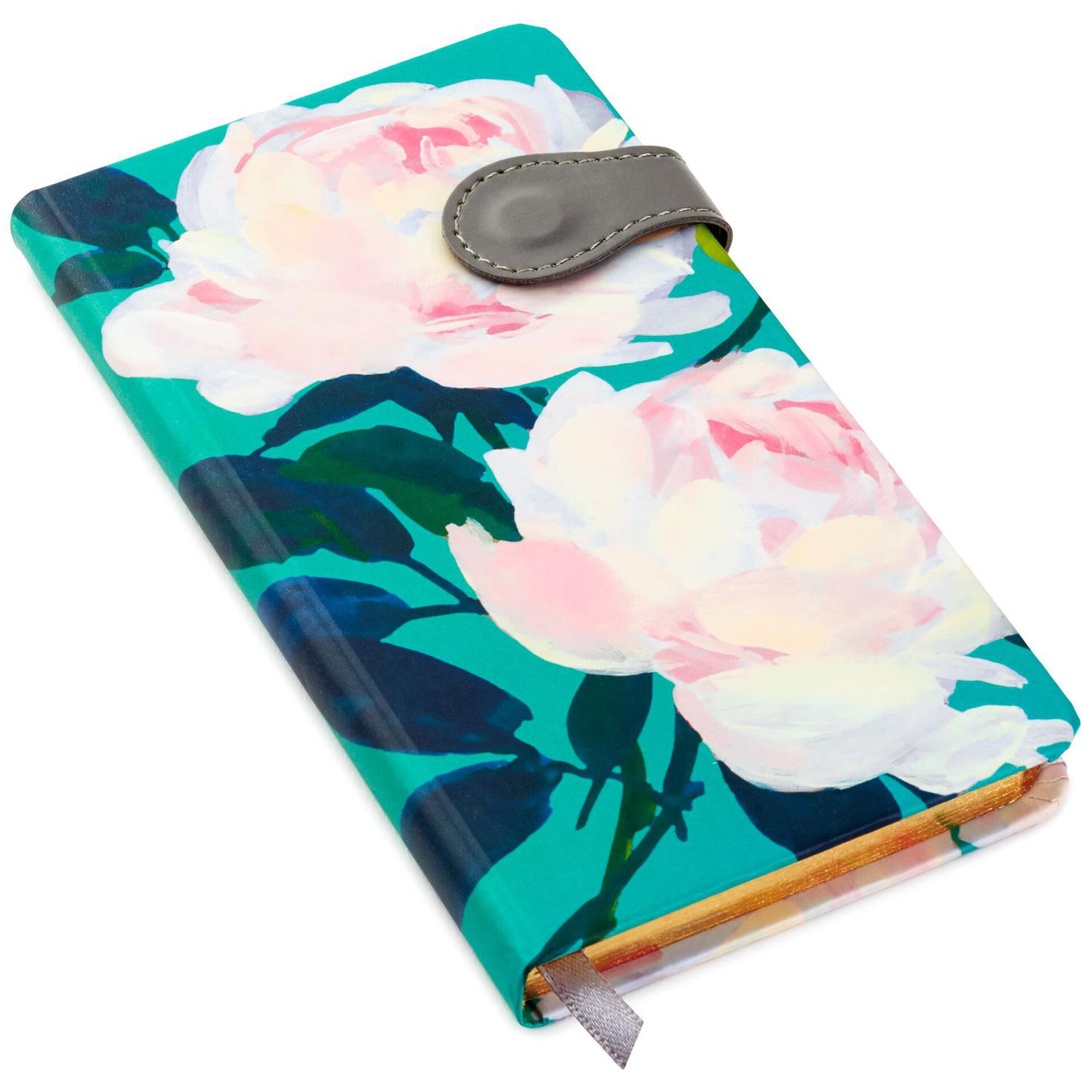 Pastel Peonies on Jade Slim Notebook