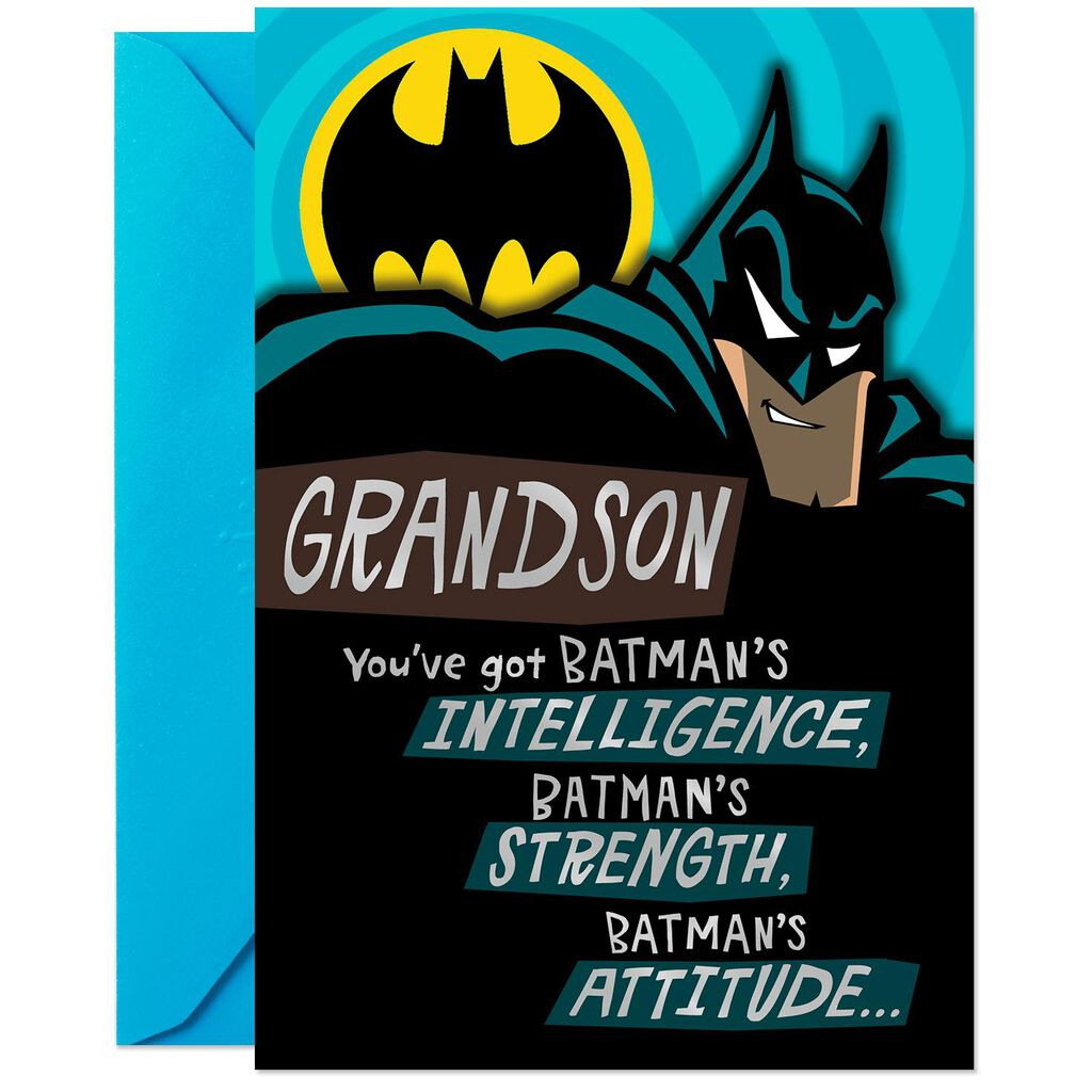 DC ComicsTM BatmanTM Secret Identity Birthday Card For Grandson