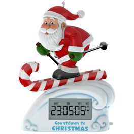 Santa Skiing Countdown to Christmas Clock Ornament With Light, , large