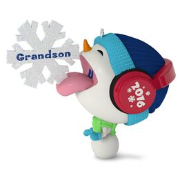 Whimsical Snowman and Snowflake Grandson Ornament, , large