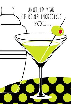 Martini Shaker and Glass Incredible You Birthday Card