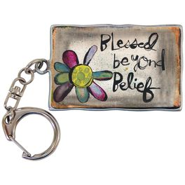 Blessed Beyond Belief Metal Keychain, 2.25x1.5, , large