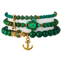 Chavez for Charity Emerald Green Turtle Bracelets, Set of 3, , large