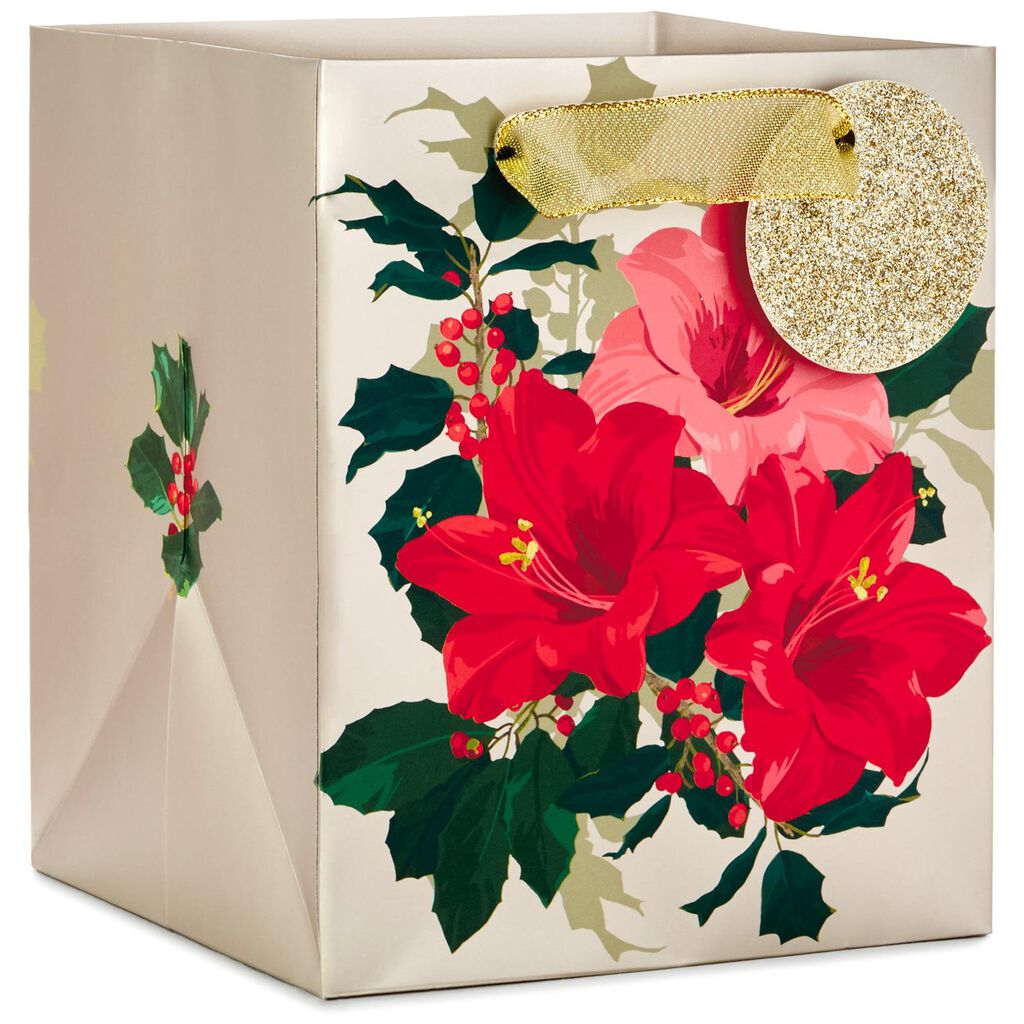 Amaryllis on Gold Extra-Deep Small Christmas Gift Bag, 6.5\