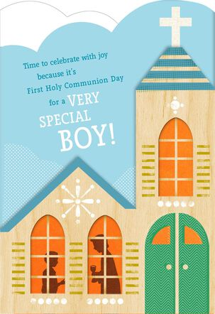 Church With Steeple Religious First Communion Card for Boy