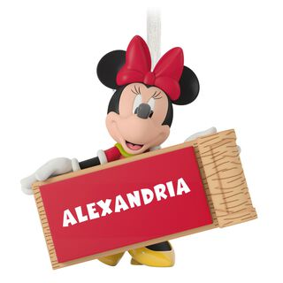 Minnie Mouse with Sled Personalized Ornament,