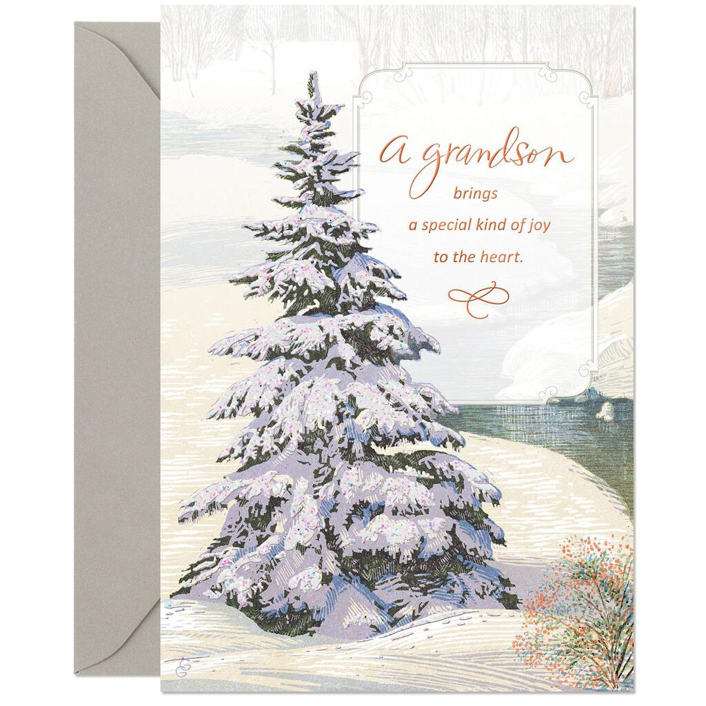 Glistening Evergreen Christmas Card for Grandson - Greeting Cards ...