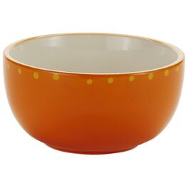 Orange With Yellow Dots Cereal Bowl, , large