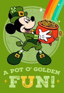 Mickey Mouse Pot of Gold St. Patrick's Day Card,