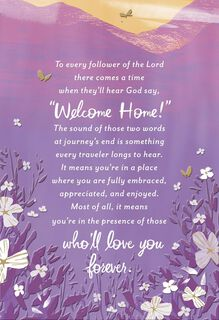 Welcome Home Religious Sympathy Card,