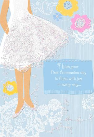White Dress With Flowers First Communion Card