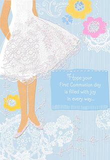 White Dress With Flowers First Communion Card,