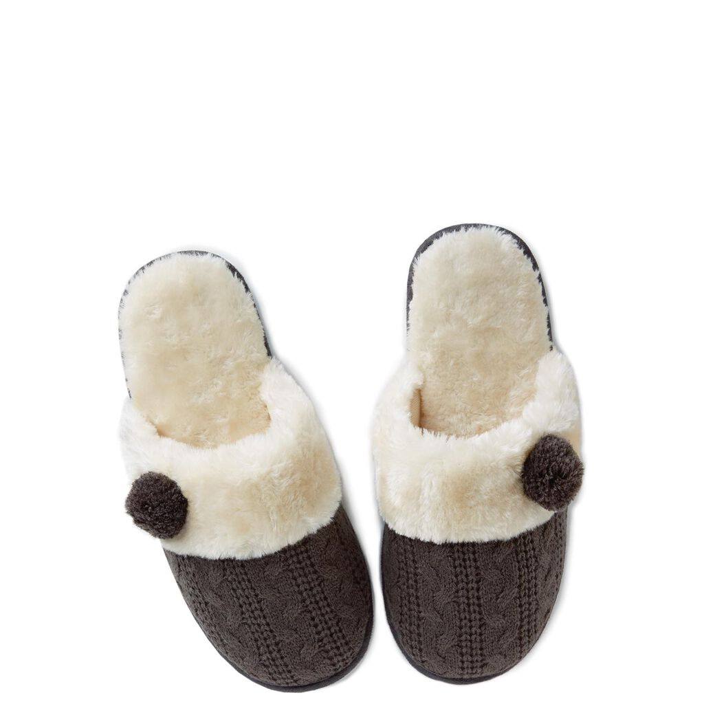 Grey Cable Knit Slippers Small Hallmark