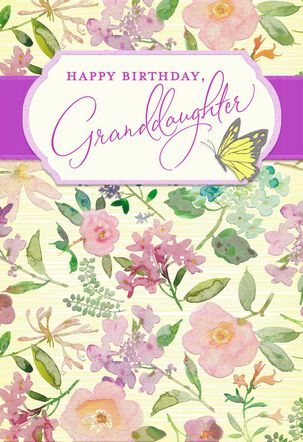 Flowers and Butterfly Birthday Card for Granddaughter