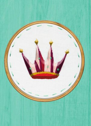 Crown Embroidery Birthday Card