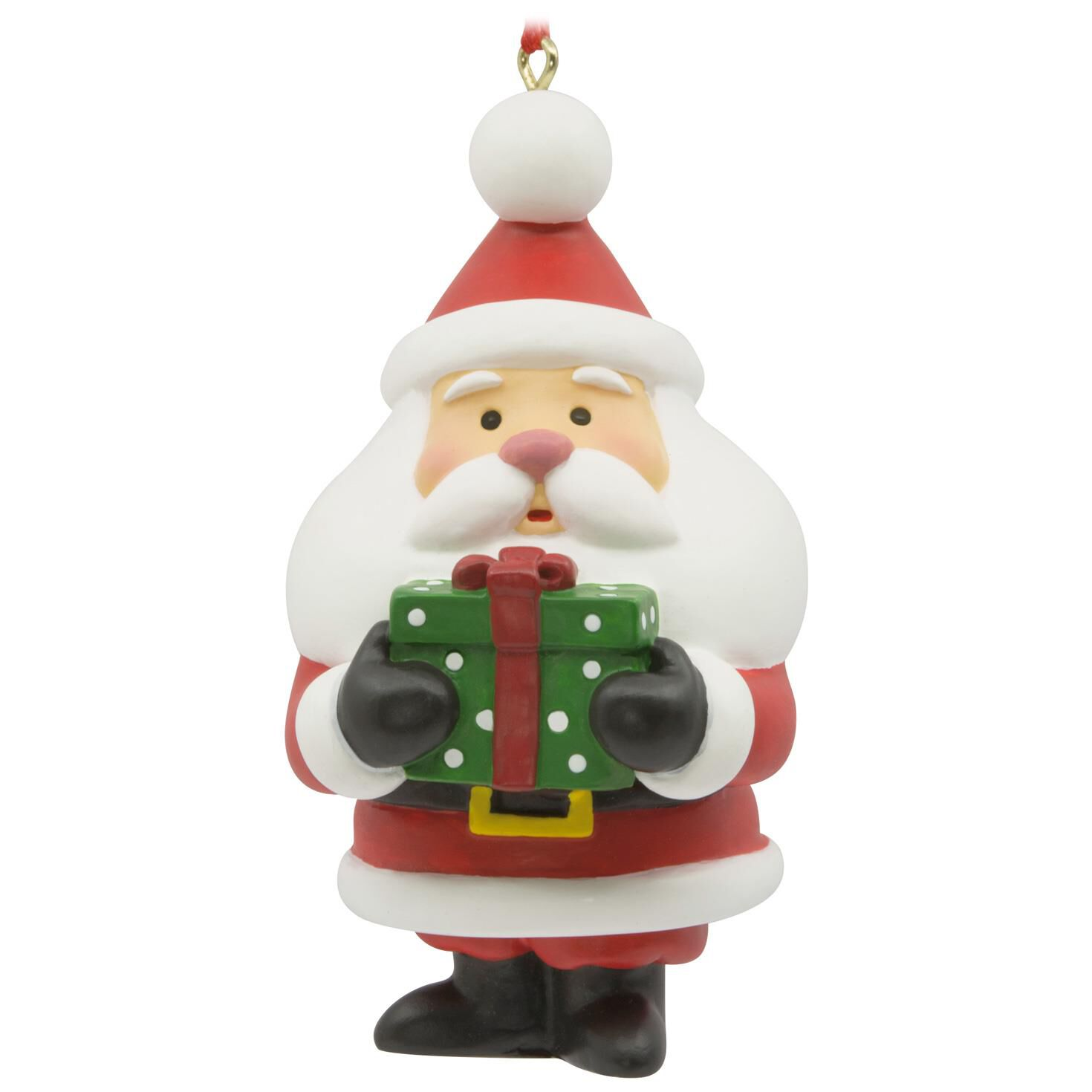 santa with present hallmark ornament gift ornaments hallmark