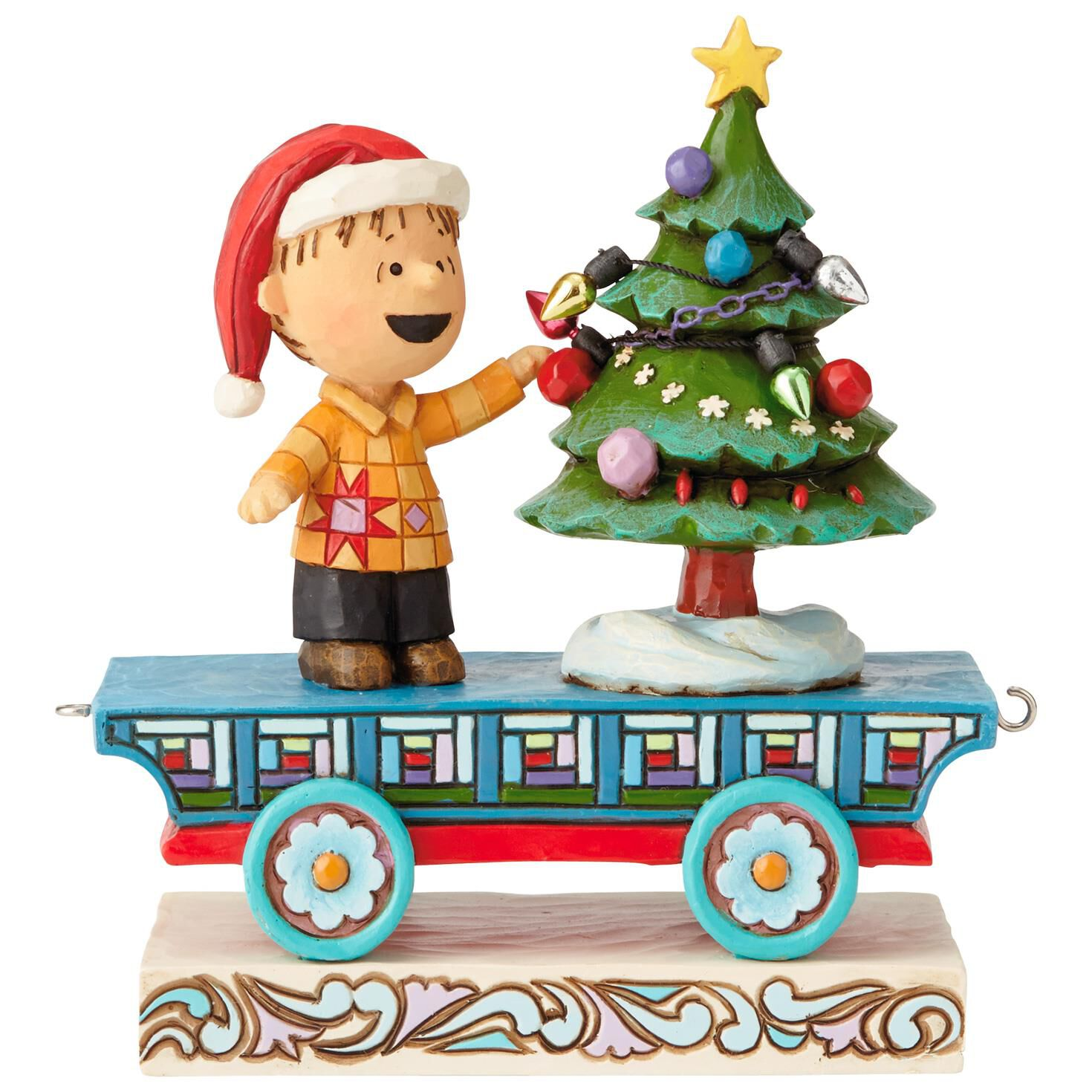 Christmas Train.Jim Shore Peanuts Linus On Christmas Train Mini Figurine 4 5