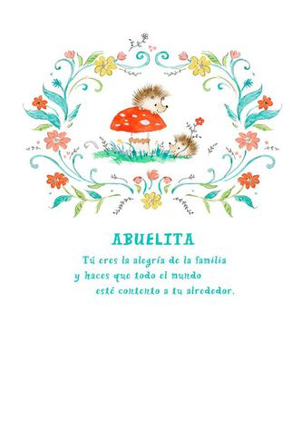 Flowers And Porcupines Spanish Language Grandma Birthday Card