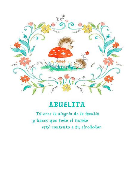 Flowers And Porcupines Spanish Language Grandma Birthday Card