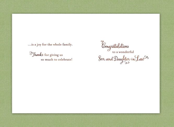 Bouquet And Rings Wedding Card For Son Daughter In Law