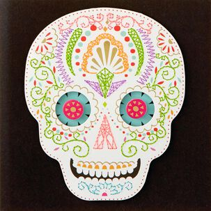 Embroidered Sugar Skull Blank Card