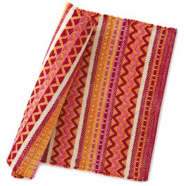 Orange and Red Zig Zag Kitchen Rug, , large