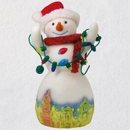 Christmas in Kansas City Plaza Lights Snowman Porcelain Ornament, , large
