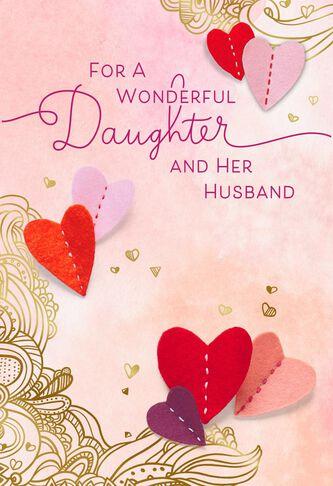 felt hearts valentines day card for daughter husband hallmark valentines day cards