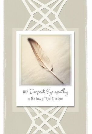 Single Feather Sympathy Card for Loss of Grandson