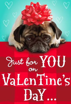 Pug with Red Bow Valentine's Day Card