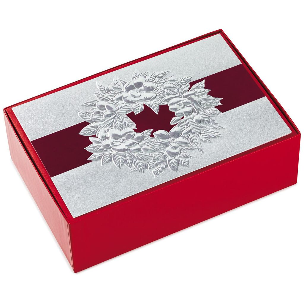 Silver Holiday Wreath Christmas Cards, Box of 40 - Boxed Cards ...