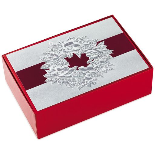 silver holiday wreath christmas cards box of 40