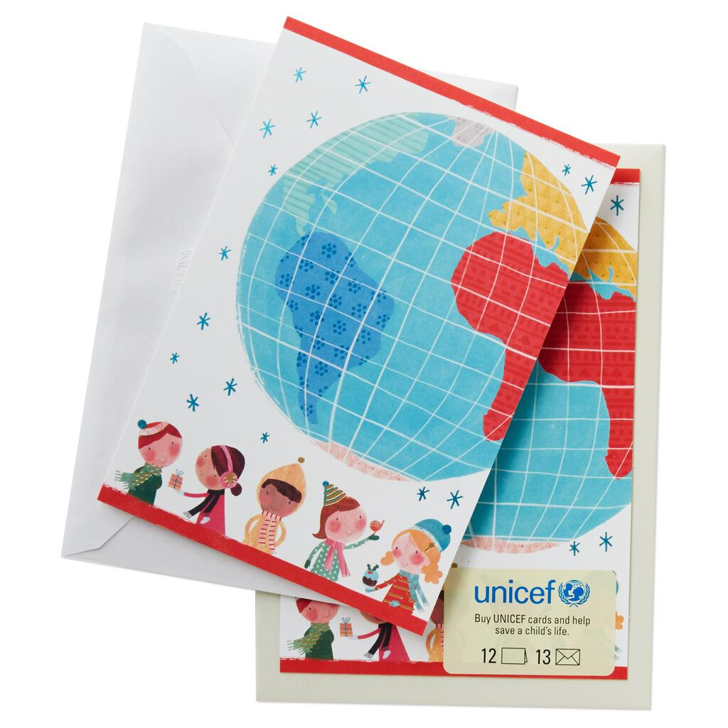 UNICEF Watercolor Kids World Christmas Cards, Box of 12 - Boxed ...