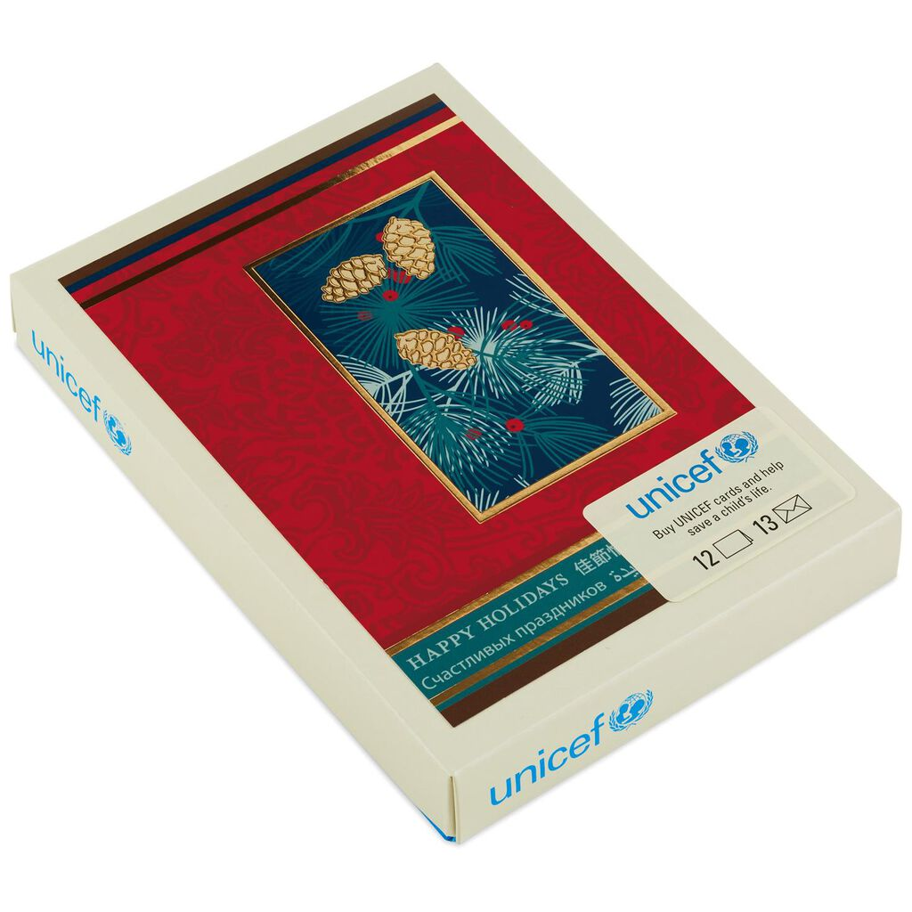UNICEF Happy Holidays Pinecones Christmas Cards, Box of 12 - Boxed ...