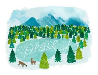 Peaceful Pond Holiday Card,
