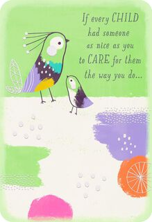 Happiness and Smiles Child Caregiver Thank You Card,