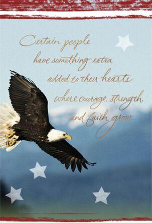 Courageous, Strong, Faithful Military Thank You Card
